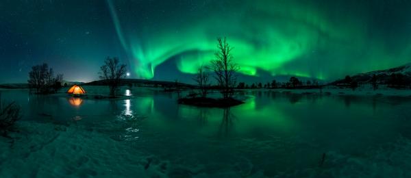 Telt og nordlys. Gull. © Jan R. Olsen